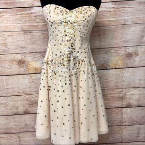 Bcbg Vanilla Beaded Strapless Tulle Dress